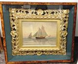 Elisha Taylor Baker Original Oil Naval Painting with Frame & Case